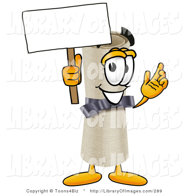 Clip Art of a Proud Diploma Mascot Cartoon Character Holding a Blank Sign