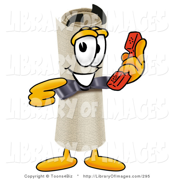 Clip Art of a Proud Diploma Mascot Cartoon Character Holding a Telephone