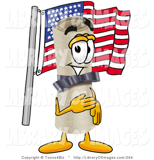 Clip Art of a Proud Diploma Mascot Cartoon Character Pledging Allegiance to an American Flag
