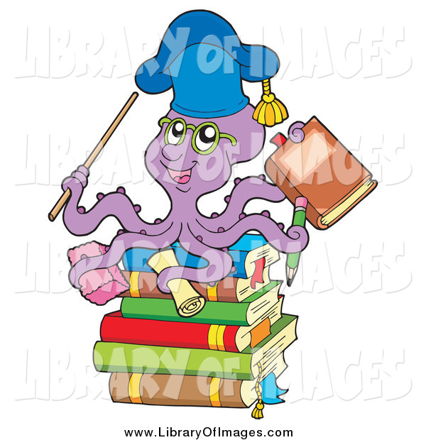 Clip Art of a Purple Octopus Teacher on a Stack of Books