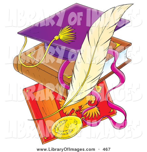 Clip Art of a Purple School Graduation Cap on a Book over a Plaque with a Feather