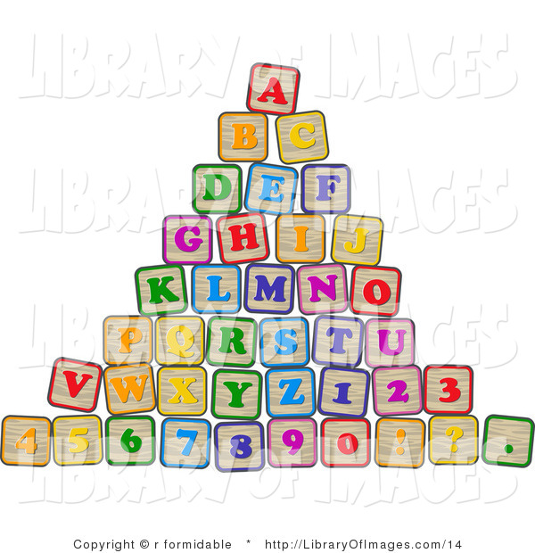 Clip Art of a Pyramid of Colorful Stacked Letter and Number Blocks