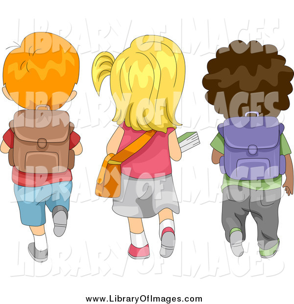Clip Art of a Rear View of Diverse School Children Walking to School