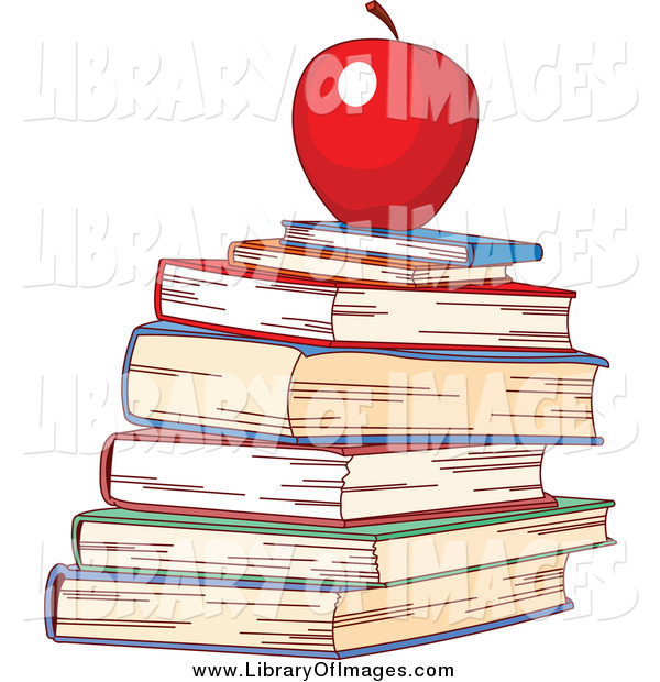 Clip Art of a Red Apple Atop a Stack of School Books