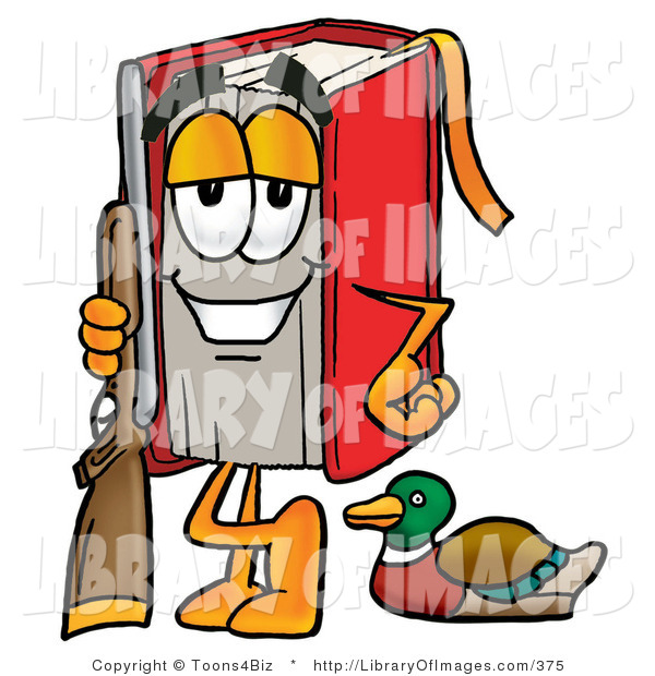 Clip Art of a Red Book Mascot Cartoon Character Going Duck Hunting, Standing with a Rifle and Duck