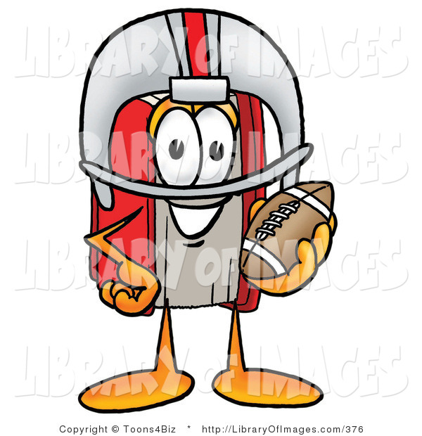 Clip Art of a Red Book Mascot Cartoon Character in a Red and White Helmet, Holding a Football