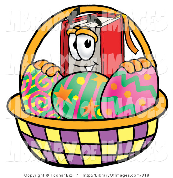 Clip Art of a Red Book Mascot Cartoon Character in an Easter Basket Full of Painted Easter Eggs