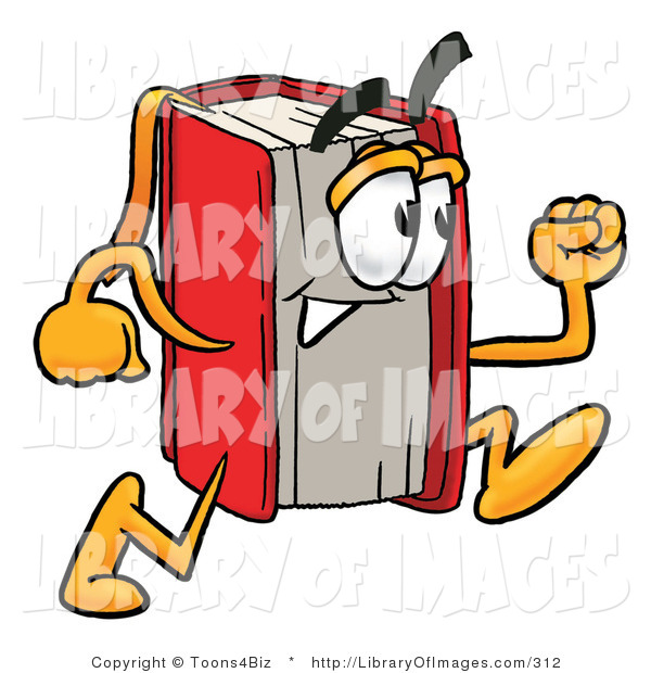 Clip Art of a Red Book Mascot Cartoon Character Running on White