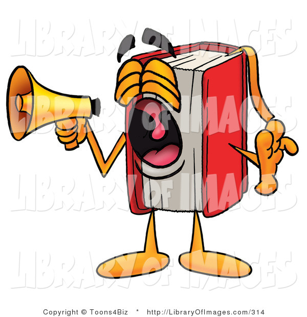 Clip Art of a Red Book Mascot Cartoon Character Shouting into a Megaphone