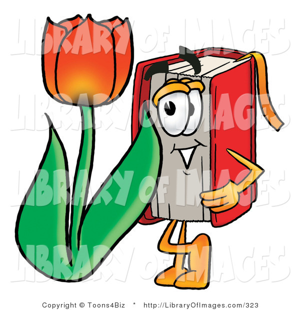 Clip Art of a Red Book Mascot Cartoon Character with a Red Tulip Flower in the Springtime