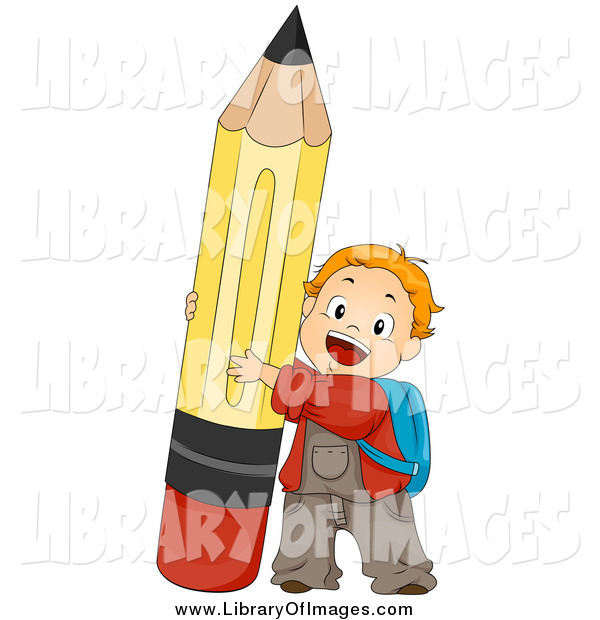 Clip Art of a Red Haired White School Boy Pushing up a Pencil