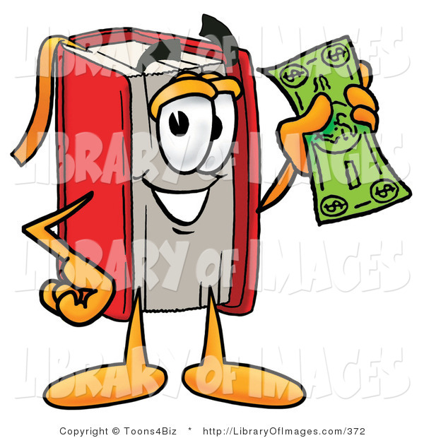 Clip Art of a Rich Red Book Mascot Cartoon Character Holding a Dollar Bill