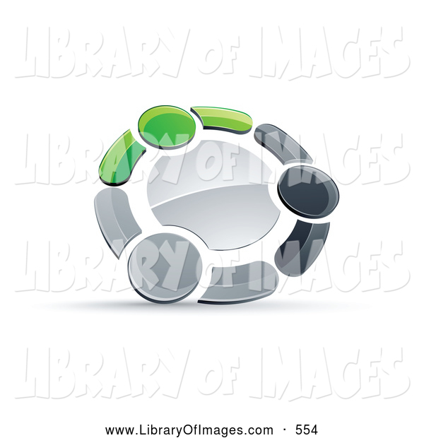 Clip Art of a Ring of Three Green, Gray and Black People Holding Hands