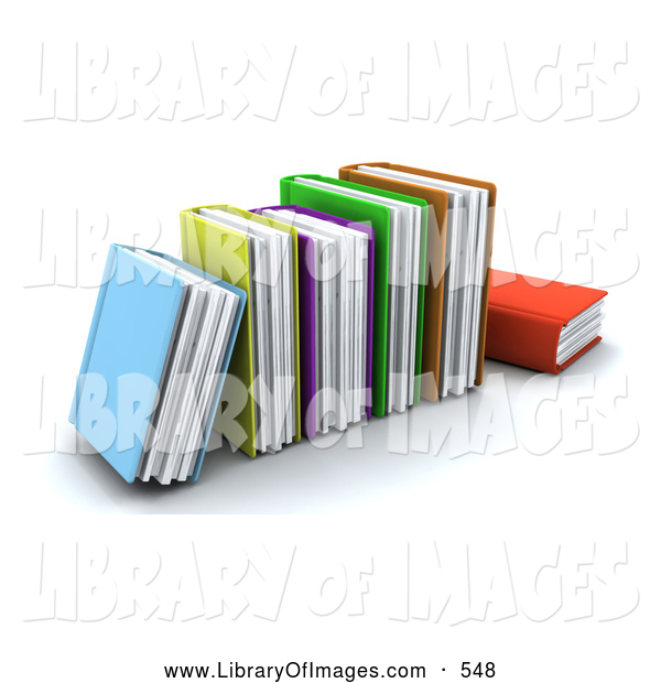 Clip Art of a Row of Colorful Thick Text Books on White