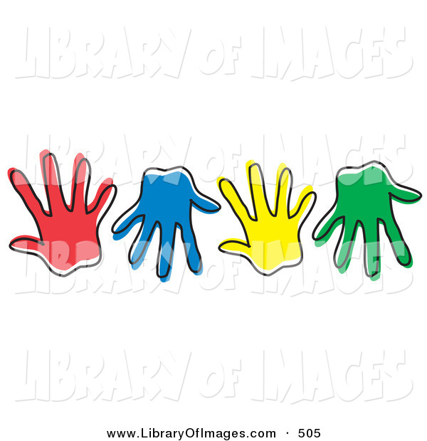 Clip Art of a Row of Different Colored Hand Prints on White