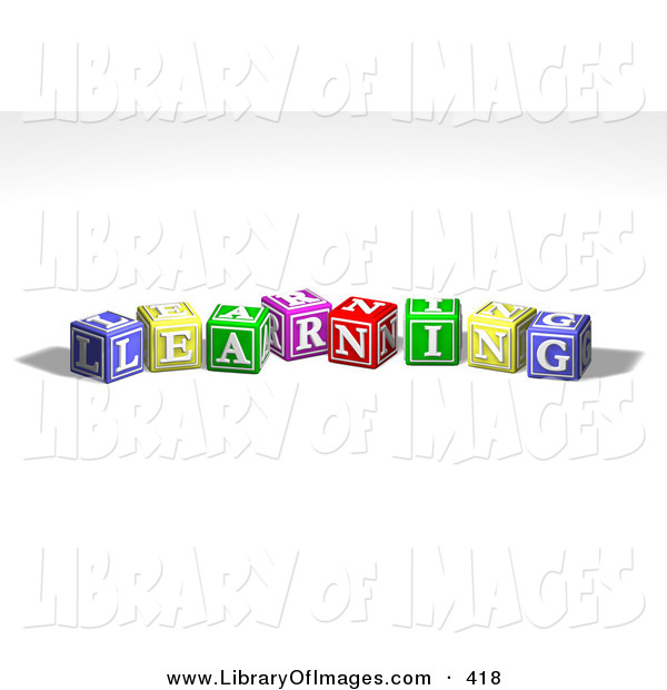 Clip Art of a Row of Many Colorful Red, Yellow, Green, Pink and Red Toy Alphabet Blocks Spelling out LEARNING