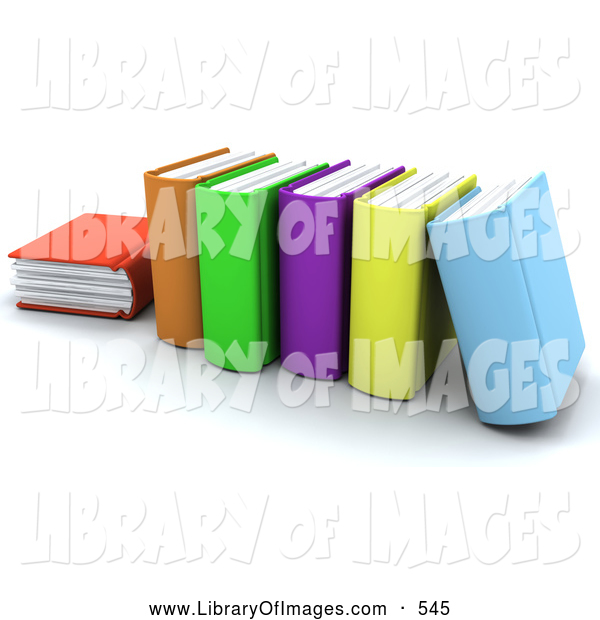 Clip Art of a Row of Thick Colorful School Books