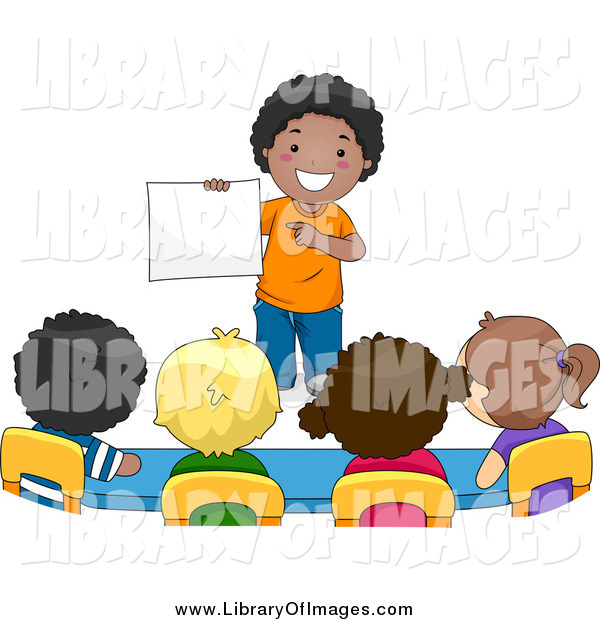 Clip Art of a School Boy Presenting to His Classmates