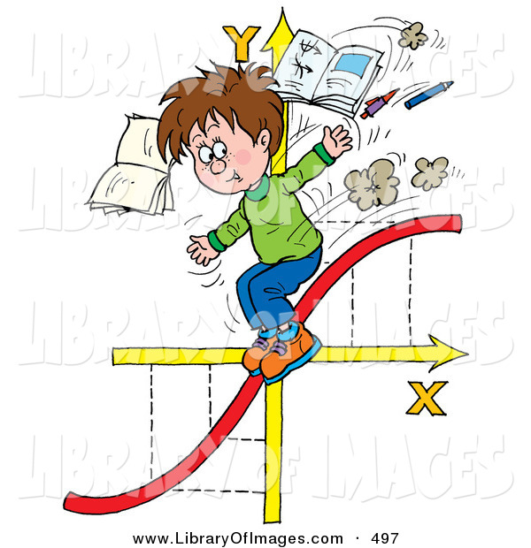 Clip Art of a School Boy Riding down a Red Graphing Chart Line on Arrows, Tossing Books and Pens in the Air