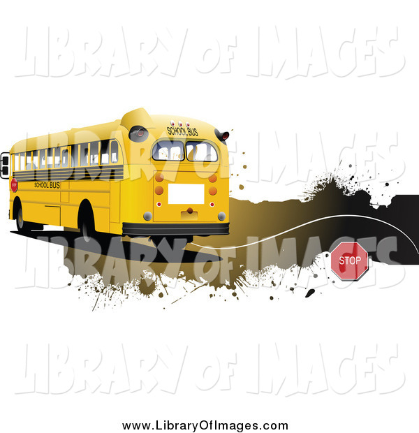 Clip Art of a School Bus and Grunge Website Header
