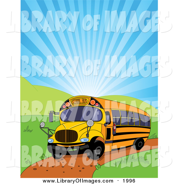 Clip Art of a School Bus and Shining Sky