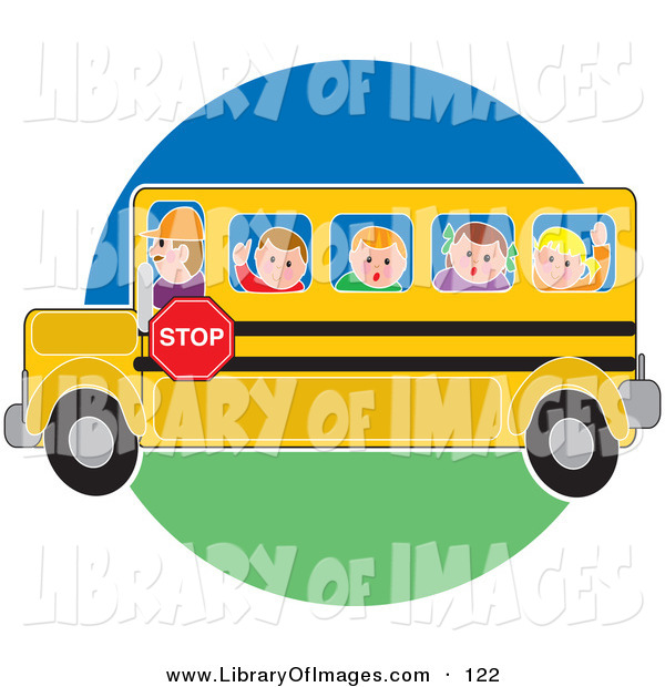 Clip Art of a School Bus Driver Man Driving School Children to or from School on a Circle