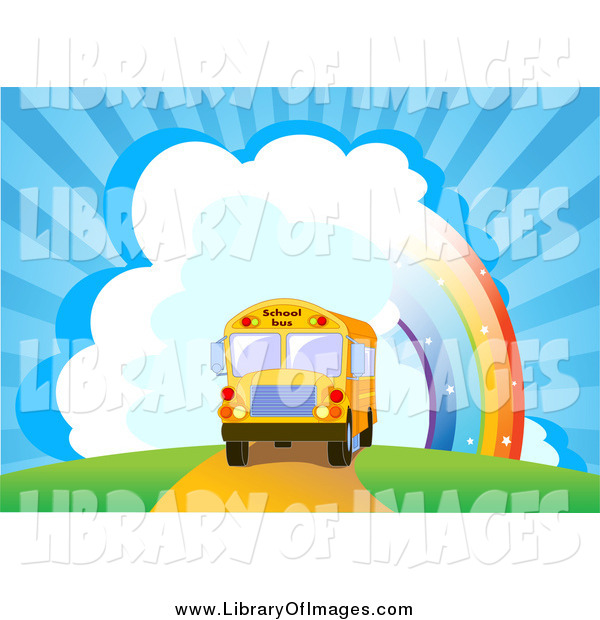 Clip Art of a School Bus near a Rainbow and Bursting Sky