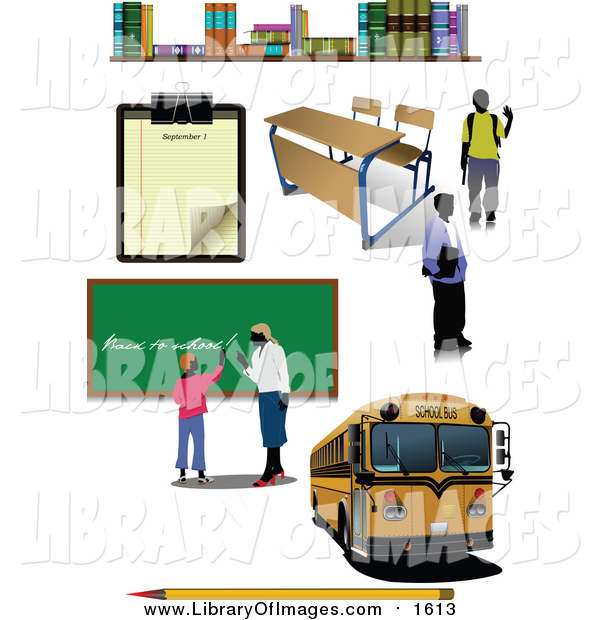 Clip Art of a School Bus, Teacher and School Items