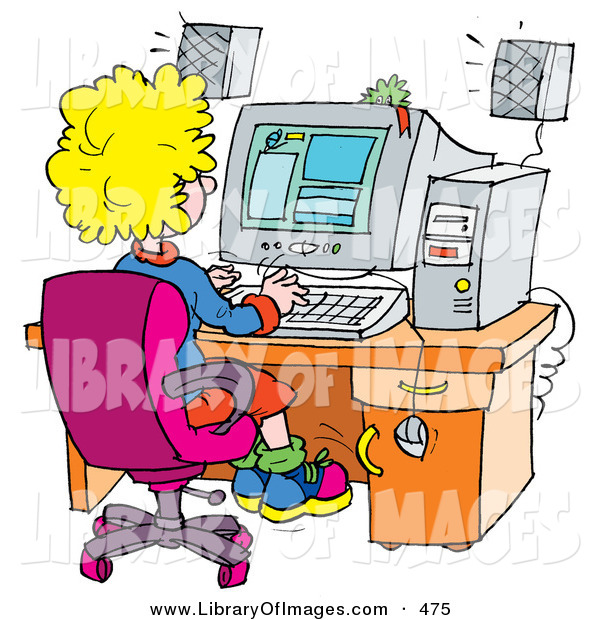 Clip Art of a School Girl Using a Computer in a School