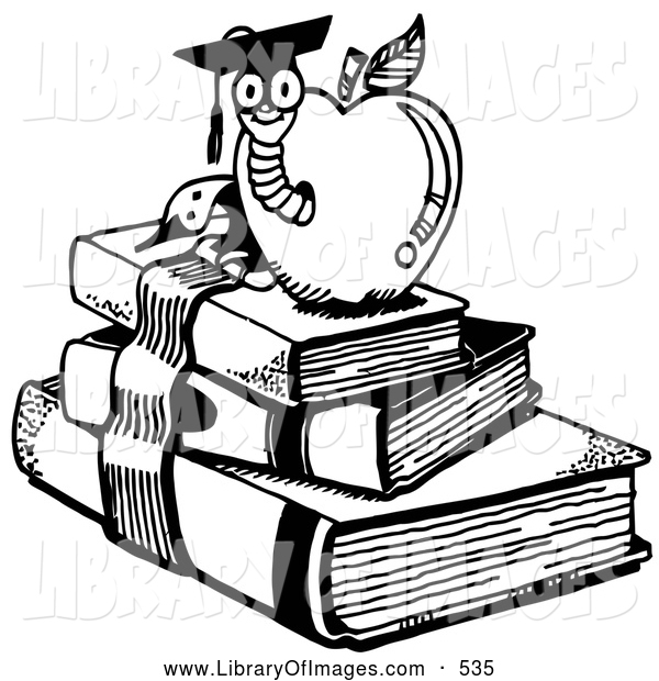 Clip Art of a School Graduate Worm Emerging from an Apple Atop School Books