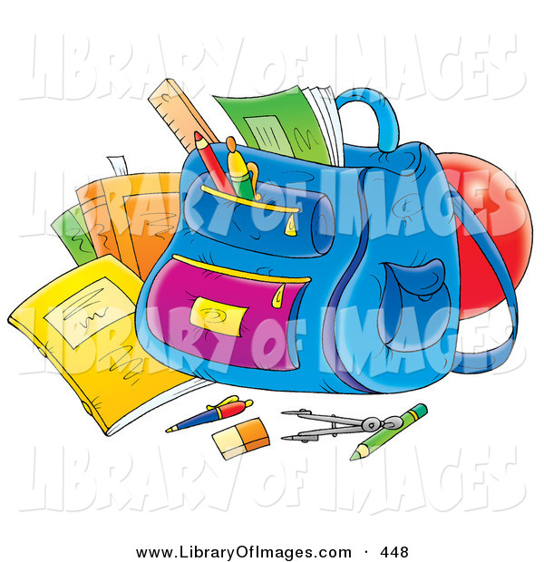 Clip Art of a School Supplies Around a Backpack on White