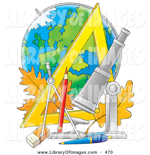 Clip Art of a School Supplies Telescope, Pencil, Pen, Eraser, Ruler, Compass and Leaves in Front of a Globe