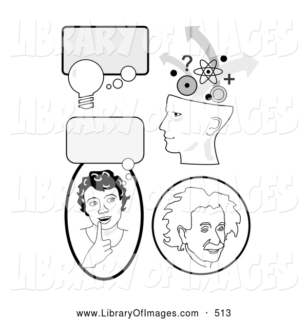 Clip Art of a Set of Educational Icons with Thought Bubbles, a Girl Thinking, Genius Head and Albert Einstein, on White