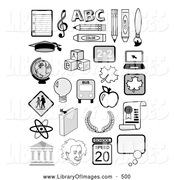 Clip Art of a Set of Many Educational Icons Including Music Notes, the Abcs, Globe, Albertin Einstein, Molecules and School Supplies