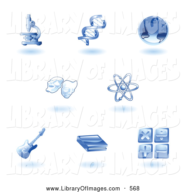 Clip Art of a Set of Shiny Blue Education Subject Icons