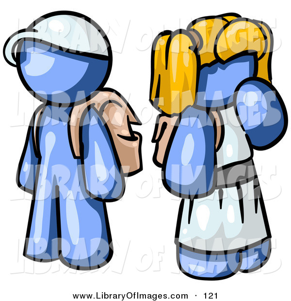 Clip Art of a Shiny Blue Boy Wearing a Hat and Carrying a Backpack, Standing Beside a Blond Blue Girl in a Dress, Who Is Also Carrying a Backpack and Holding Her Hand by Her Mouth