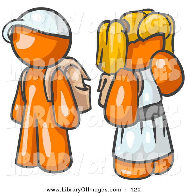 Clip Art of a Shiny Orange Boy Wearing a Hat and Carrying a Backpack, Standing Beside a Blond Orange Girl in a Dress, Who Is Also Carrying a Backpack and Holding Her Hand by Her Mouth