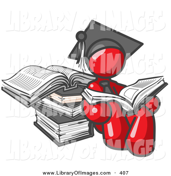 Clip Art of a Shiny Red Male Student in a Graduation Cap, Reading a Book and Leaning Against a Stack of Books