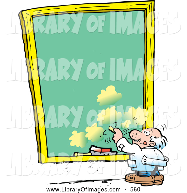 Clip Art of a Short Old White Male Professor Writing on a Sky Background Chalkboard