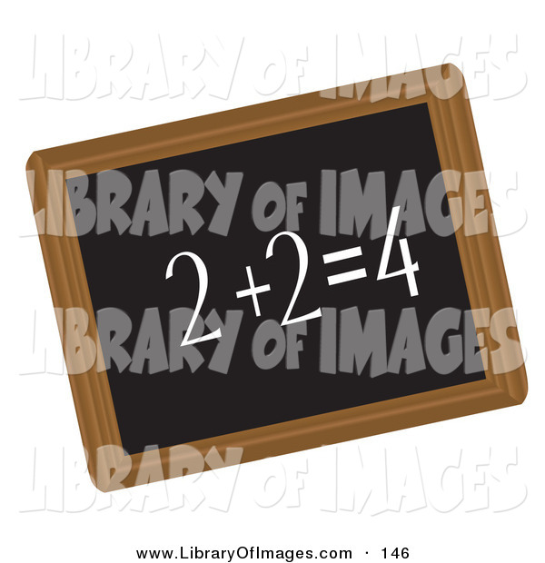 Clip Art of a Simple Math Equation Written in Chalk on a Black Chalkboard
