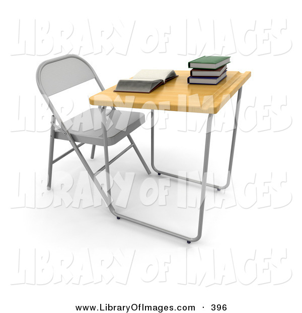 Clip Art of a Single Student School Desk in a Class Room, with a Wooden Surface and a Groove for Pencils, an Open Book and a Stack of Books on Top on White