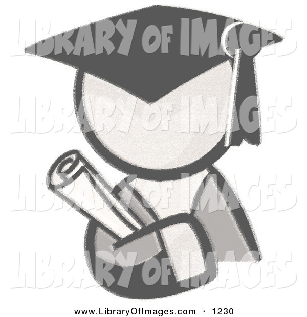 Clip Art of a Sketched Design Mascot Avatar Graduate Holding a Diploma in His Arm