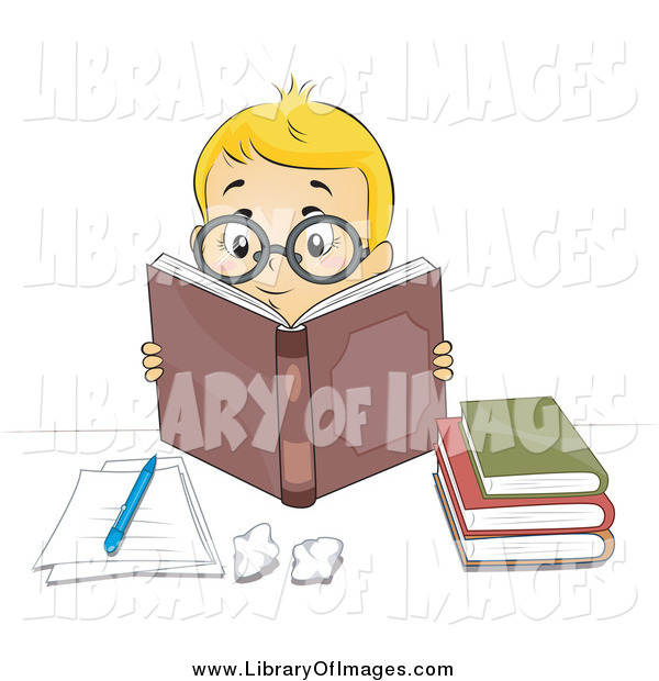 Clip Art of a Smart Blond Caucasian Boy Wearing Glasses and Reading Books