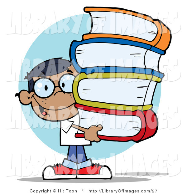 Clip Art of a Smart Hispanic School Boy Carrying a Large Stack of Books