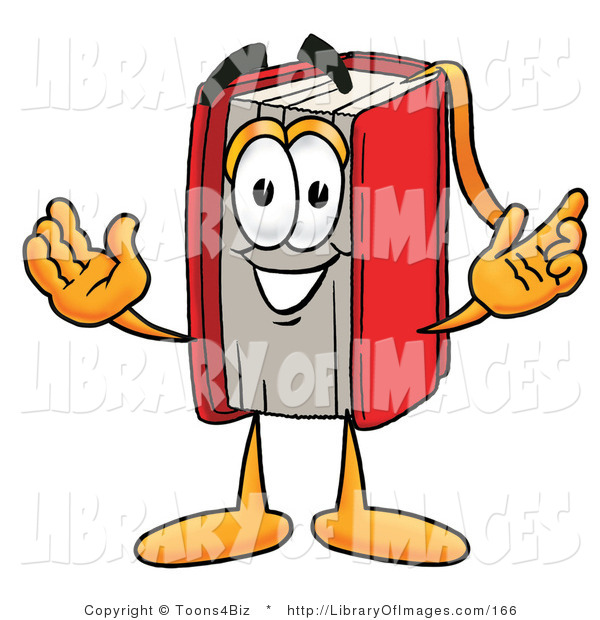 Clip Art of a Smart Red Book Mascot Cartoon Character with Welcoming Open Arms