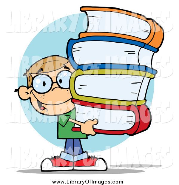 Clip Art of a Smart School Boy Carrying a Stack of Books