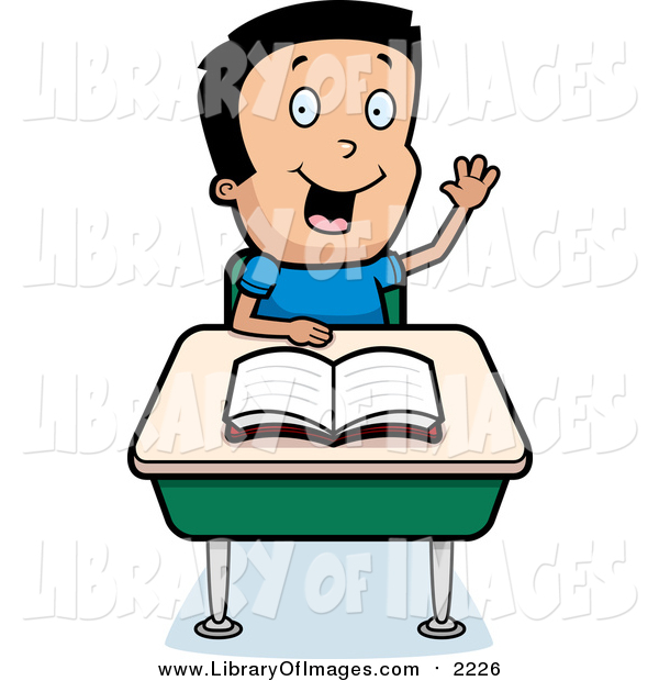Clip Art of a Smart School Boy Raising His Hand