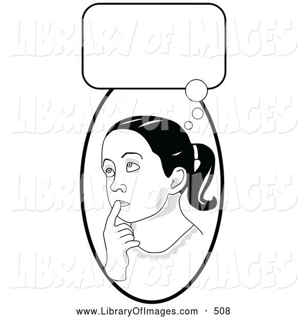Clip Art of a Smart School Girl in Thought, Touching Her Lips and Looking Up, with a Thought Bubble, on White