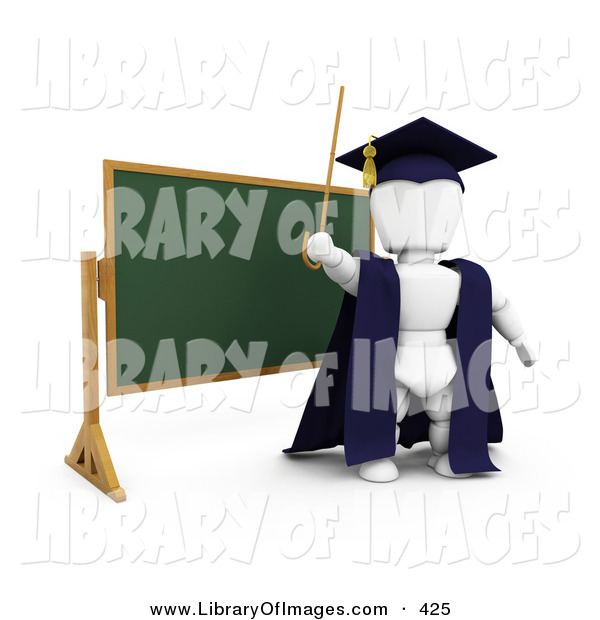 Clip Art of a Smart White Character Teacher in a Cap and Gown, Waving a Cane and Standing in Front of a Chalk Board