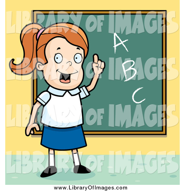 Clip Art of a Smart White School Girl with ABCs on a Chalk Board